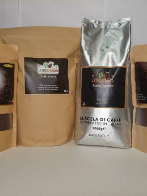 Kit dà assaggio: 1 kilo Arábica + 1 kilo miscella + 500gr moka Arábica + 500gr moka miscella + More shipping